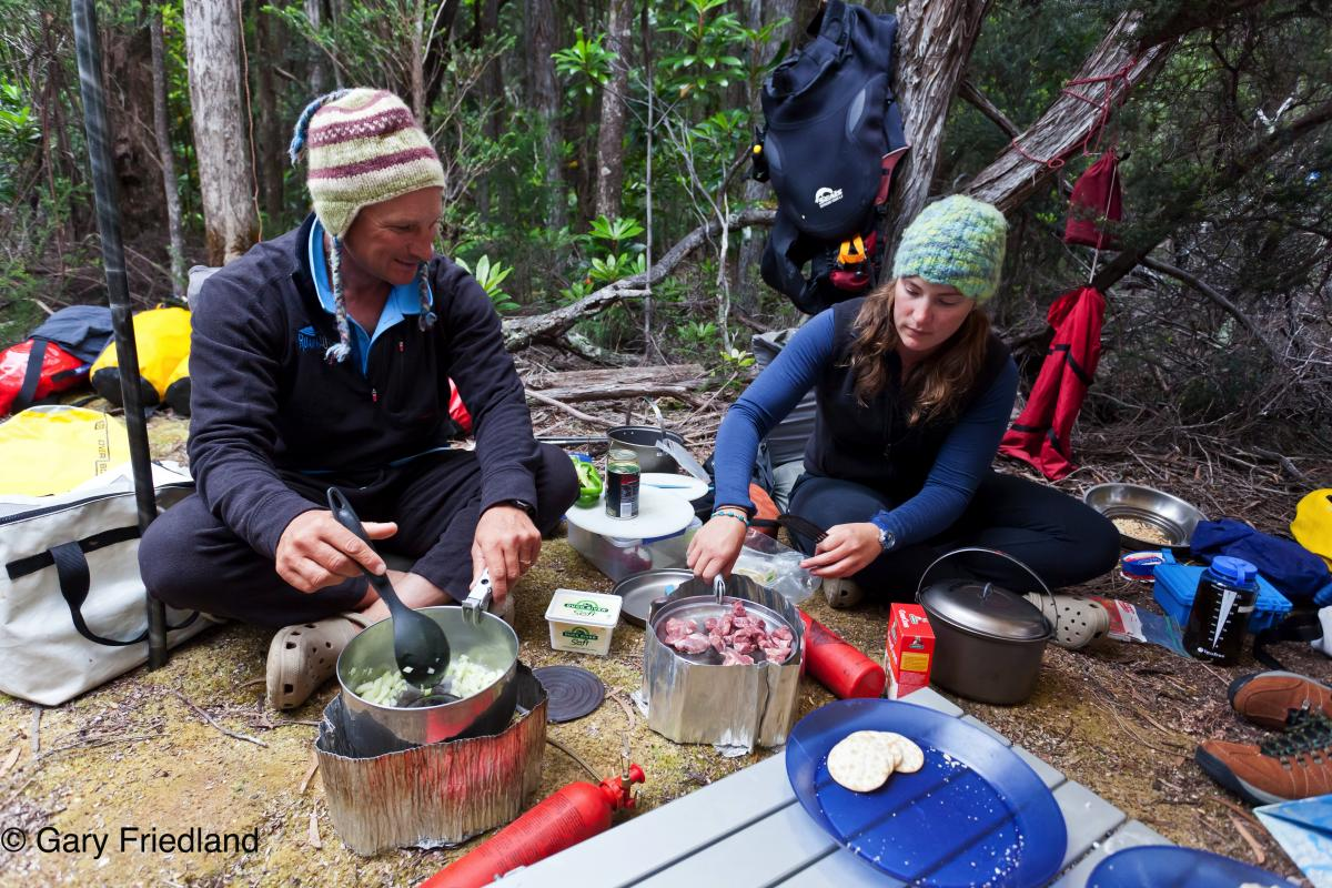 Camp cooking in Southwest Tasmania