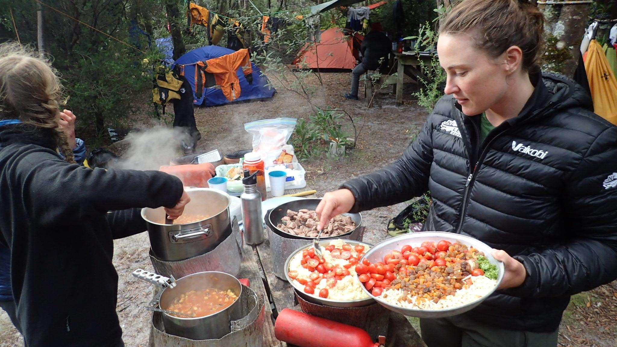 Dinner after a days kayaking Southwest Tasmania