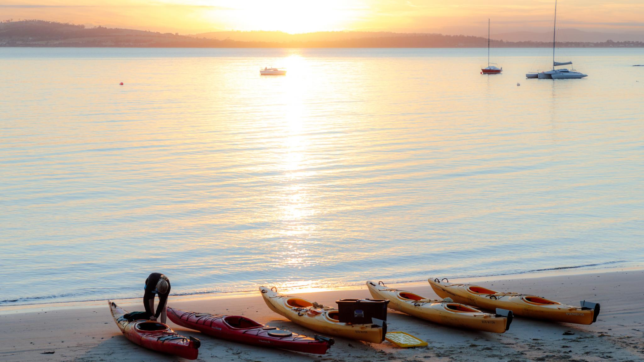 Roaring 40s Kayaking - Blackmans Bay beach on a kayaking adventure tour Tasmania