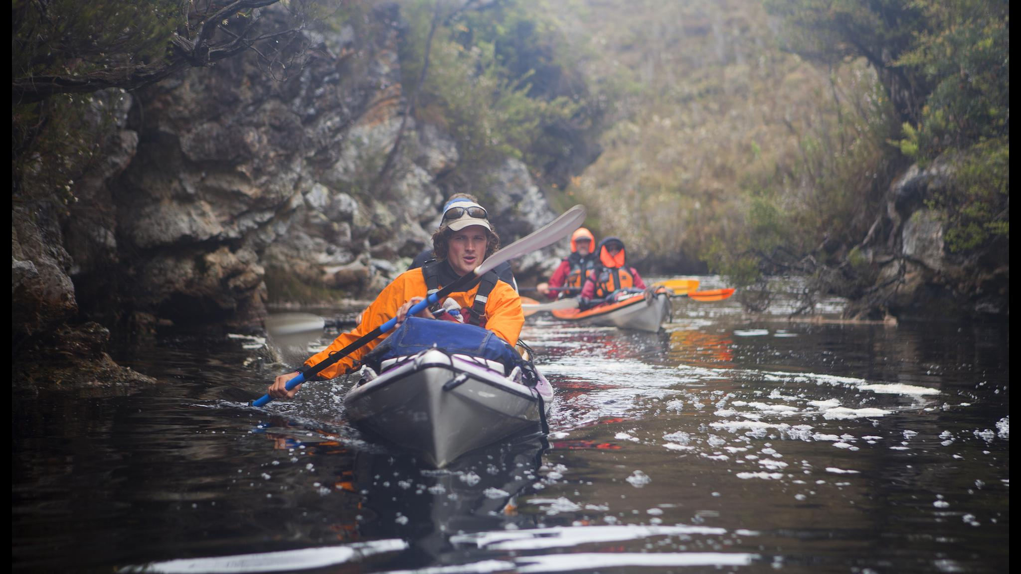 Kayaking Blackwater Creek, Port Davey, Southwest Tasmania