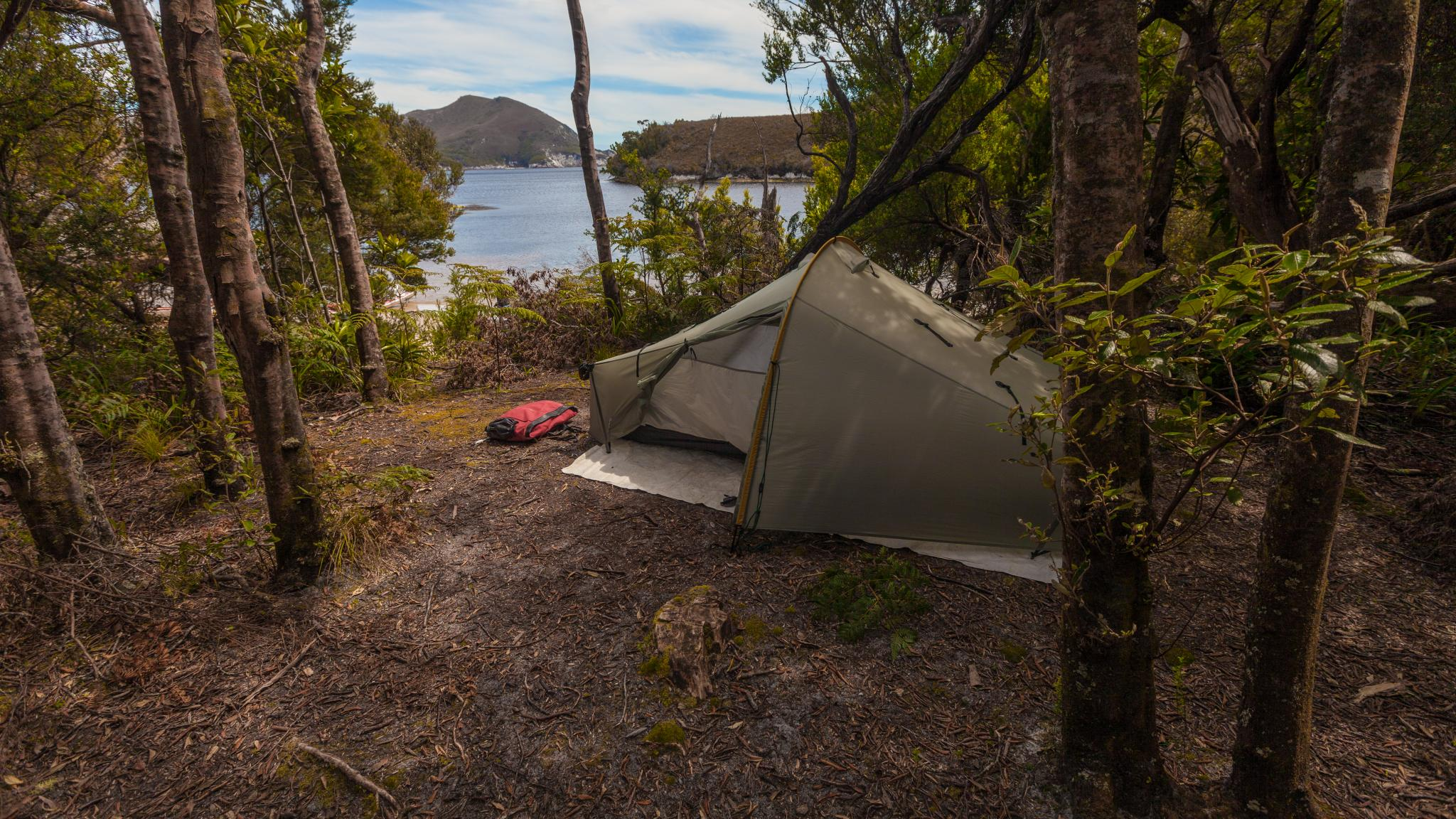 Camping at Bramble Cove, Port Davey, Southwest Tasmania