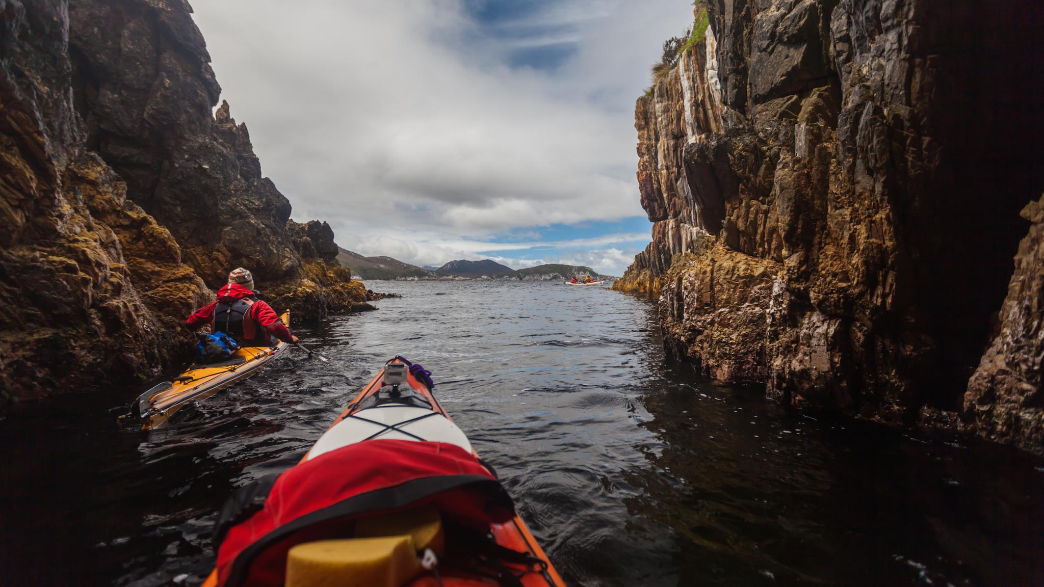 Roaring 40s Kayaking - Learn to kayak around cliffs Hobart Tasmania