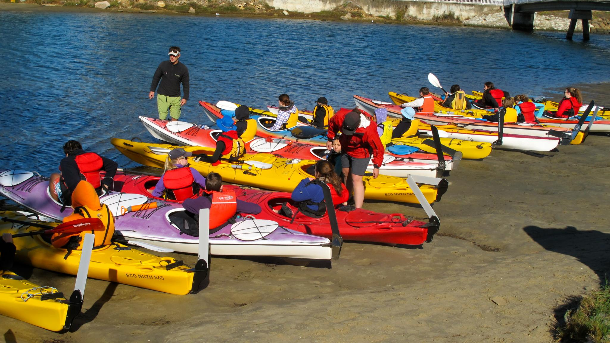 Roaring 40ºs Kayaking - Group kayaking activity on the beach, Kingston, Hobart, Tasmania