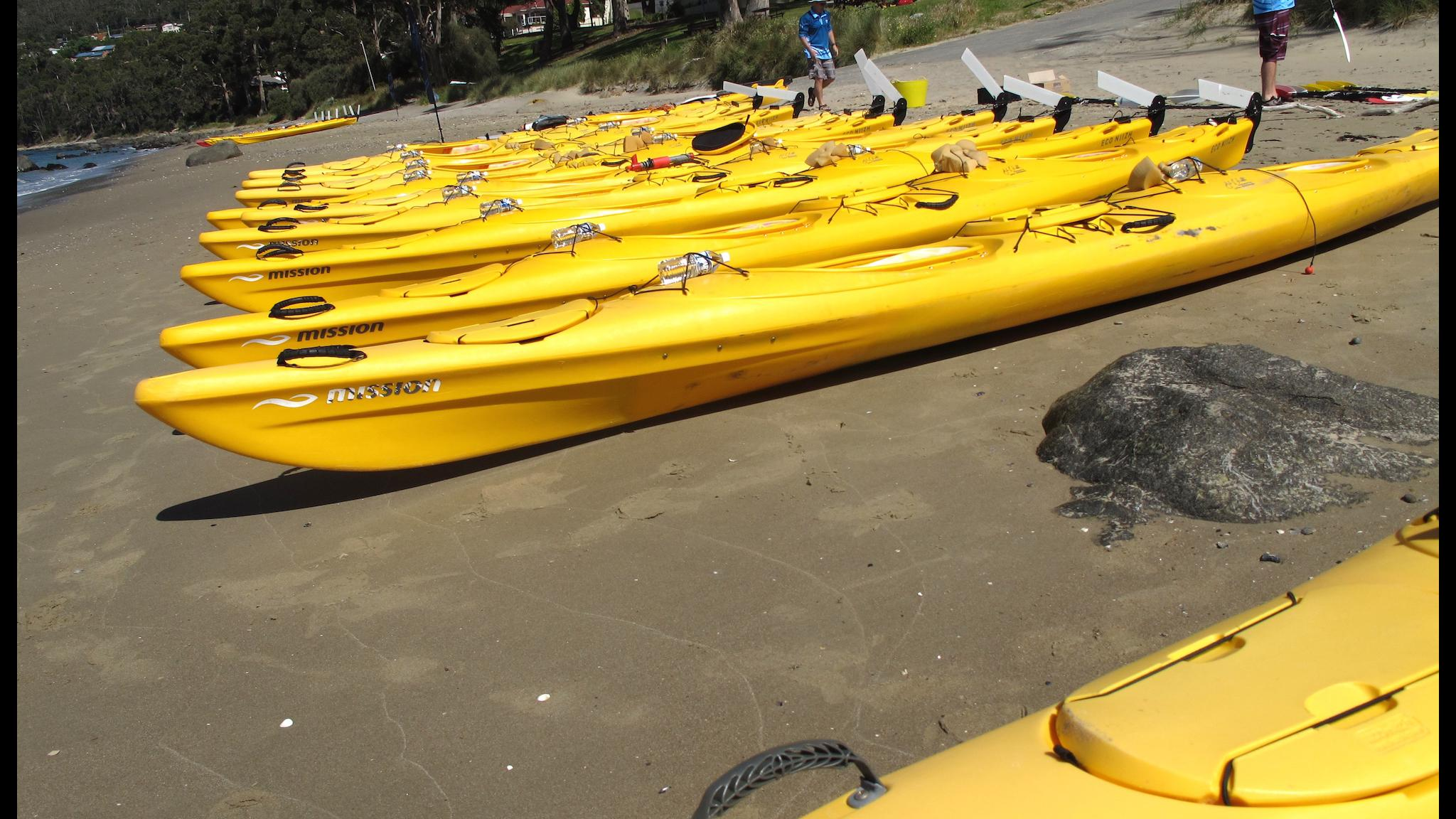 Roaring 40ºs Kayaking - Large number of kayaks on beach for group kayaking, Hobart Tasmania