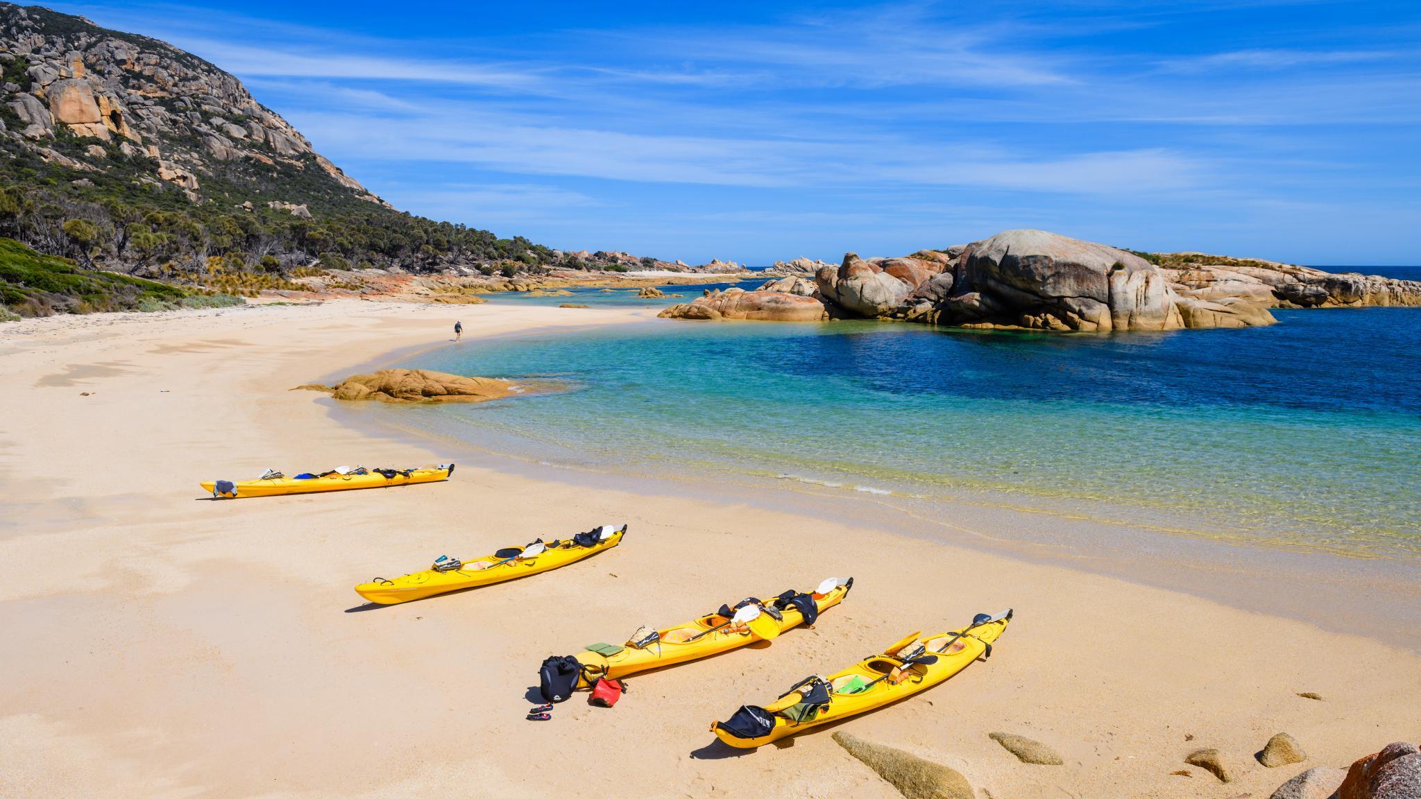 Kayaks on beach on Flinders Island