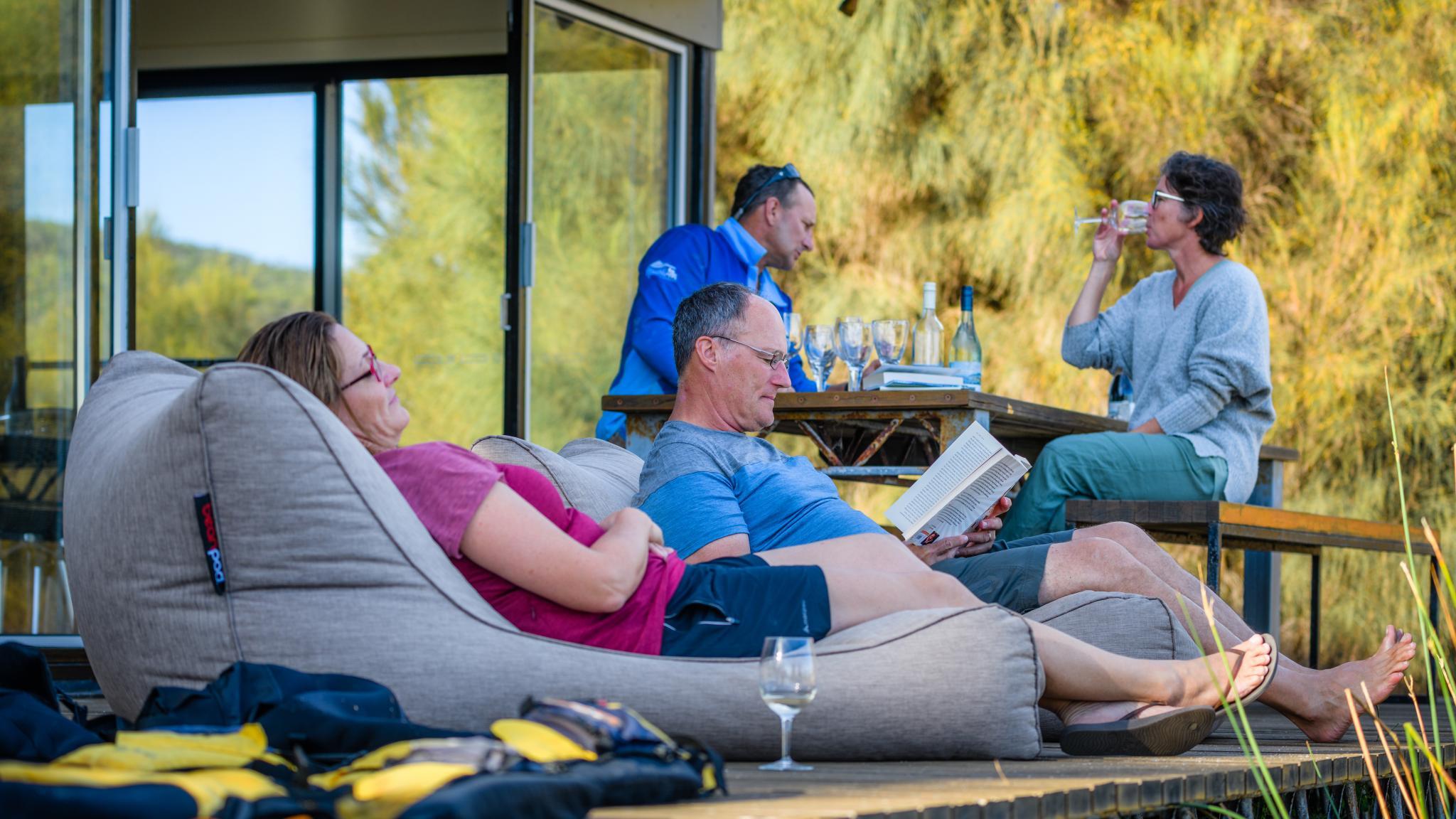 Roaring 40s Kayaking - Relaxing after kayaking adventure Flinders Island Tasmania