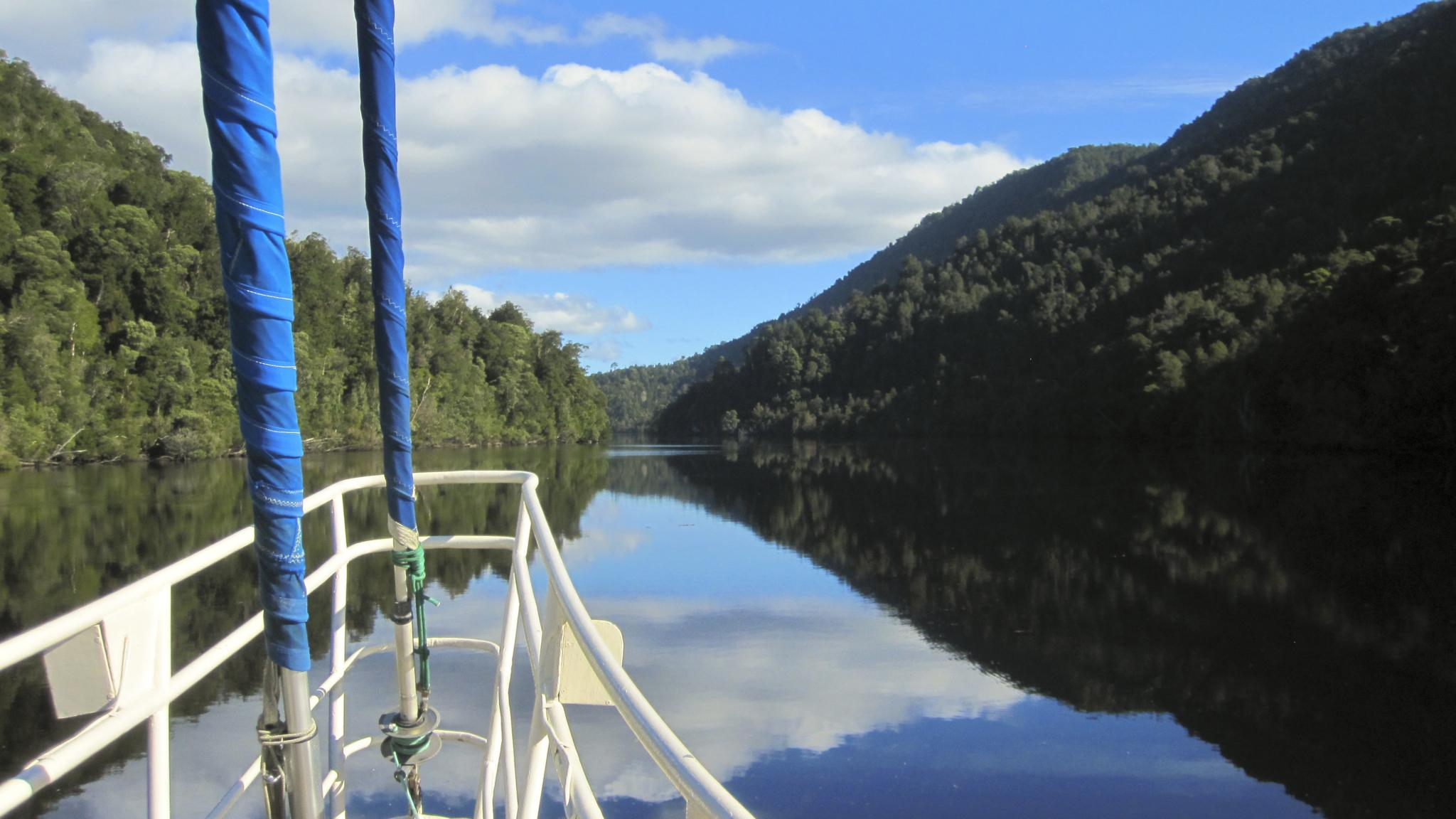 Sailing back from a kayaking adventure on the Gordon River