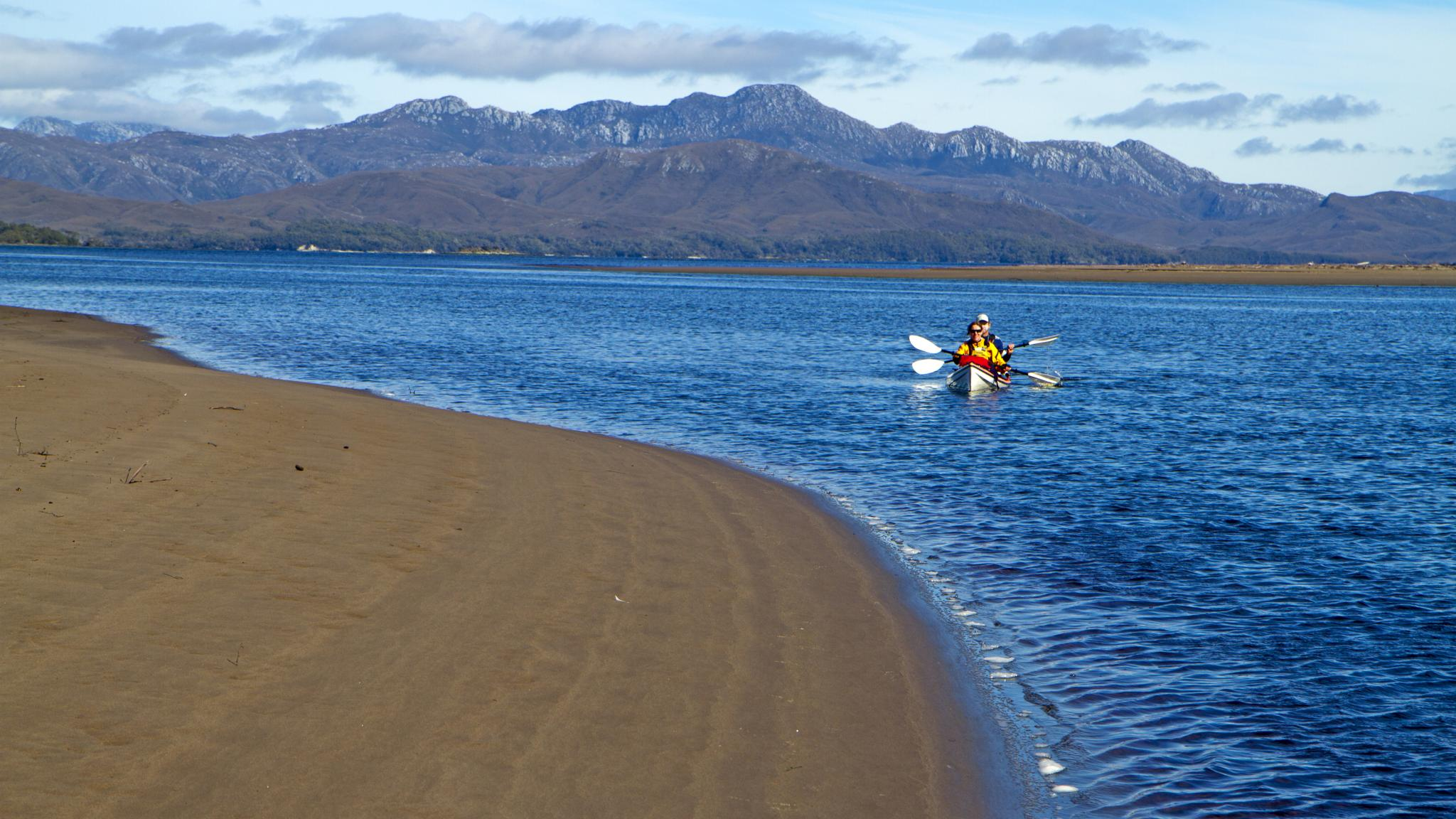 Kayakers at Settlement Point Port Davey Southwest Tasmania